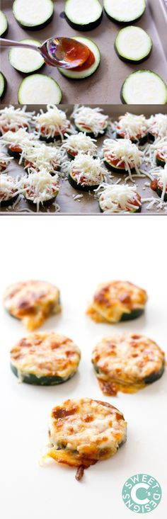 Use homemade sauce and shredded block cheese Pizza Zucchinis- delicious easy gluten free appetizer! Use homemade sauce and shredded block cheese Fingerfood Recipes, Appetizer Recipes, Snack Recipes, Cooking Recipes, Healthy Recipes, Keto Recipes, Cheese Recipes, Pizza Recipes, Easy Zucchini Recipes