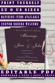 Plum & Grey Printable Wedding Invitation Template  #diywedding #editableinvites #printableinvitations #prandski