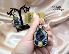 """Blue Night"" - Bead-embroidery earrings Preciosa cristals"