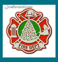 Scroll Saw Patterns :: Holidays :: Christmas :: Plaques & other projects :: Fire fighter Christmas -