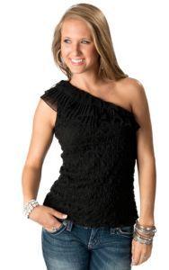 Young Essence® Women's Black One Shoulder Lace Fashion Top   Cavender's