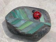 Mosaic rock with ladybird