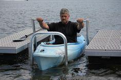 Kayak Lift and Launch - Boat Docks Kayak Storage Rack, Kayak Rack, Kayak Fishing, Fishing Boats, Walleye Fishing, Ice Fishing, Fishing Reels, Fishing Cart, Tuna Fishing