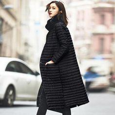 1ab14fc4f90a Ultra Light Down Jacket Women Long Puffer Coat Plus Size Winter Cotton  Stand Collar Lightweight Jacket