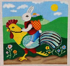 Rabbit Riding Rooster 18 mesh 8.5x8.5 in. Reg. $123.75, Trunk Show $99