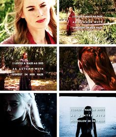 """Cersei Lannister, Sansa Stark, Daenerys Targaryen """"I loved a maid as fair as summer with sunlight in her hair. I loved a maid as red as autumn with sunset in her hair. I loved a maid as white as winter with moonglow in her hair."""""""