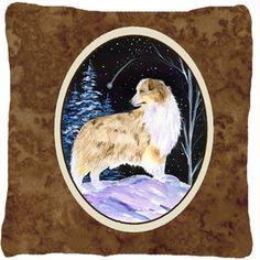 Starry Night Australian Shepherd Indoor/Outdoor Throw Pillow