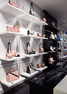 Karl Lagerfeld opens First Design Store in Kuwait - News & Events Boutique Interior Design, Boutique Decor, Fashion Shop Interior, Fashion Store Design, Boutique Stores, Handbag Display, Shoe Display, Bag Store Display, Shoe Store Design