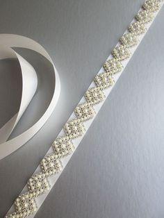 Bridal belt sash Bridal crystal and pearl belt sash Wedding Bead Embroidery Patterns, Hand Embroidery Designs, Beaded Embroidery, Wedding Belts, Wedding Sash, Crystal Belt, Bridal Sash Belt, Bead Sewing, Embroidery Fashion