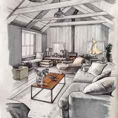 Interior sketch by @matveeva_anna  #drawuroom #interiordesign #illustration #sketch #interiorsketch #drawing