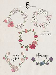 Spring Bundle (30% Off) by DesignsByMissM on Creative Market. I'm so excited about this! These flowers are so lovely, and there are just so many great ways to put them to use: wedding invitations, feminine logos, stationary design, you name it!