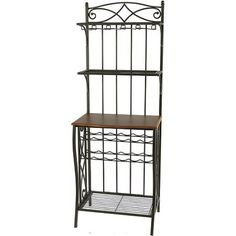 Metal Bakers Rack with Wine Storage, Antique Brass Finish, Gold