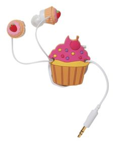 Cupcake earbuds with a cupcake cord wrapper.