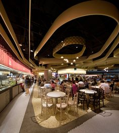 Marina Bay Sands, best known for their massive rooftop infinity pool, has just been outfitted with Rasapura Masters food court, designed by FARM Studio. Mall Design, Design Studio, Retail Design, Food Court Design, Oasis, Masters, Restaurant Interior Design, Living At Home, Ceiling Design