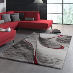 Looking for a modern focal point for your living room, bedroom, kitchen or hallway? Then this contemporary low pile rug from our current collection is perfect. Black And Red Living Room, Red Couch Living Room, Red Living Room Decor, Living Room Mats, Burgundy Living Room, Living Room Carpet, Home Living Room, Living Room Modern, Living Room Designs