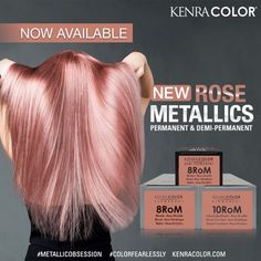 Metallic Violet Rose If you're as obsessed with rose tones as we are, you want to check out this for Hair Dye Colors, Cool Hair Color, Rose Gold Hair, Pink Hair, Rose Gold Blonde, Metallic Hair Color, Kenra Color, Hair Color Formulas, Hair Color Techniques