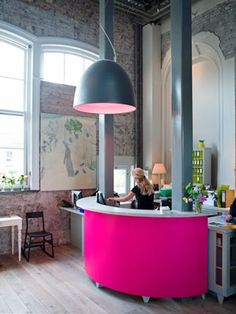 front desk - like the bold colors and the huge lamp...maybe not pink for the gym..ha ha ha