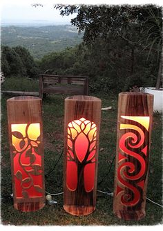 Dream Lamps. original carved wood lamps. Byron Bay