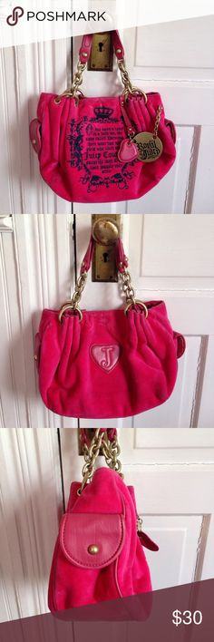 """Juicy Couture hot pink velvet purse Juicy Couture hot pink velvet purse, gold tone chain link straps, attached mirror and mirror pocket inside, phone slot and key fob, pocket on each side, cotton polyester blend feels like velvet, 10"""" across, 9"""" high , 4"""" wide Juicy Couture Bags"""