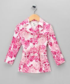 Crafted with European flair, this double-breasted trench coat features a vintage rose print, notched collar and coordinating belt. The easy-on button closure adds convenience to this sharp and playful piece.Includes coat and belt97% cotton / 3% elastaneMachine washMade In Bulgaria