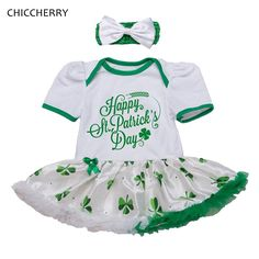 >> Click to Buy << Happy St.Patrick's Day Baby Girl Dress Green Print Clover Infant Lace Tutu Headband Set Vestido Fille Bebe Toddler Party Outfits #Affiliate