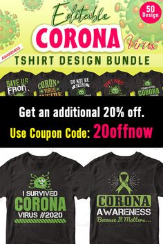 This bundle contains 50 Editable T-shirt Designs that are perfect for t-shirts, hoodies, mugs, and flyers too. With completely editable and pixel perfect vector files you can adapt these t-shirt designs to any size.    What's more? This deal comes with an extended commercial license so that you can use them in unlimited personal and commercial projects. #coronavirustshirt #tshirtcoronavirus #tshirtbundle #tees #tshirtdesign #tshirttemplates #editabledesigns #ads T Shirt Design Template, Flyers, Design Bundles, Cool T Shirts, Funny Tshirts, Shirt Designs, Commercial, Ads, Templates