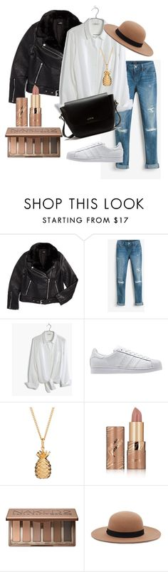 """Day Outfit 1"" by emma-495 on Polyvore featuring Topshop, White House Black Market, Madewell, adidas Originals, Rachel Jackson, tarte, Urban Decay, Forever 21 and Lodis"