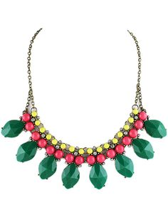 lovely with a white shirt  Green Gemstone Retro Gold Bead Chain Necklace US$7.26