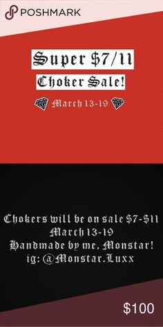 Insane Choker Sale Like this listing to remind you about the sale!  I will be putting the majority of my chokers on sale from March 24 to April 2!  Extra: Diamonds, Rhinestone, Crystal, Bling, Shiny, Handmade, Wedding, Bride, Prom, Thick, Velvet, Suede, Lace Up, Kardashian, Celebrity, Kylie, Kendall, Jenner, Victorian, White, Lolita, Gothic, punk, bdsm, fetish, black, pink silver, blue silver, ddlg, metal, gold, red, ruby, flower, daisy, party, fashion, sale, cheap, discount Monstar Luxx…