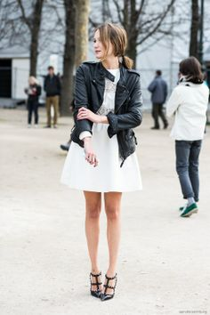 I love a leather jacket over a girly dress. The fashion self-informed.   Hot fashion and you