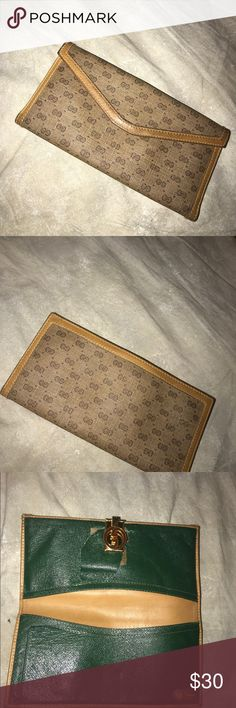 vintage gucci checkbook wallet has a rip i show on pictures authentic gucci wallet Gucci Accessories Watches