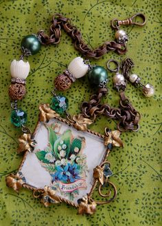 Friendship-antique vintage victorian greeting card assemblage necklace