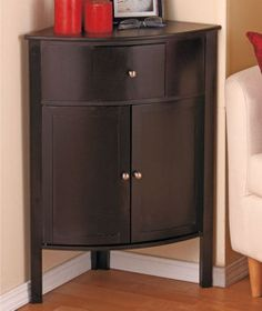 Wood Corner Storage Cabinet Black Small Accent Table Home Furniture Kitchen Bath