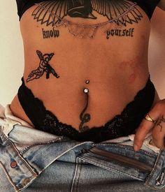 Pin by chelsea adirim on tattoo tattoos, piercing tattoo, tattoo designs. Finger Tattoos, Leg Tattoos, Body Art Tattoos, Tatoos, Stomach Tattoos Women, Dope Tattoos For Women, Hip Tattoo Quotes, Spine Tattoos, Tattoo Drawings