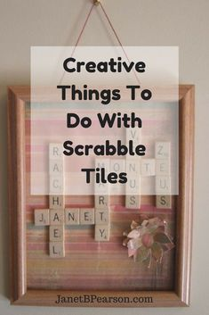 Most of us have played the scrabble board game and probably have at least one set we are not using. The tiles can be used to make Scrabble tile crafts. Scrabble Letter Crafts, Scrabble Tile Crafts, Scrabble Tile Wall Art, Scrabble Board, Wooden Scrabble Tiles, Scrabble Pieces Crafts, Scrabble Ornaments, Diy Birthday Gifts For Sister, Vintage Jewelry Crafts