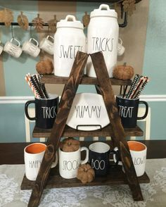 "Our collapsible cupcake stand isn't just for cupcakes ya know It is so much fun because you can use it for so many different things! You can display all of your other favorite holiday and seasonal Decour including your Rae Dunn mugs, hot cocoa bar, coffee bar, tea party etc... We can customize it and any colors for you just ask when checking out 24"" tall 7"" deep 20"" wide We do not recommend placing food directly onto it because there is paint and stain on it which is not food safe. You..."