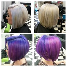 """Justin Magdule (@justin_cuts_and_colours) of Pixxie Salon, Ambler, PA., says that """"Alanah's hair has taken a process, including months of lightening with Wella Blondor and 20-40 volume multiple times, and tones with Color Touch 10/6 and 10/81."""" For this session, Magdule added some fun color. Here he shares the HOW TO to the previously lifted hair: STEP 1: Apply Pravana Chroma Silk - Violet to the root, feathering out slightly."""