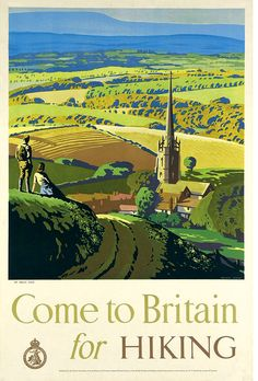 """Come to Britain for Hiking"" poster by Brian Cook, 1948 (lithograph). Brings back some beautiful memories. Not many unspoilt views left like this though, sadly. Posters Uk, Railway Posters, Illustrations And Posters, British Travel, Retro Poster, Poster Vintage, Tourism Poster, Triomphe, Travel Illustration"