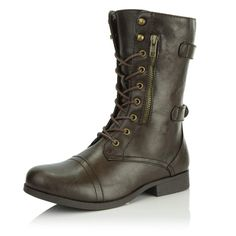 aed04fe44be9 DailyShoes Women s Military Ankle Lace Up Buckle Combat Boots Mid Knee High  Booties