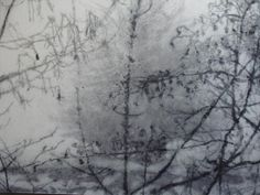 """Painting of the Day Riverbank - fog ii by Bernadette Kiely (charcoal and water on canvas 153cm x 213cm). """"Peripheral Vision"""" an exhibition of paintings by Bernadette Kiely, featuring atmospheric large-scale paintings and drawings. April 2015 Charcoal Water, Peripheral Vision, Art Images, Painting & Drawing, Hamilton, Mists, Art Gallery, Scale, Paintings"""