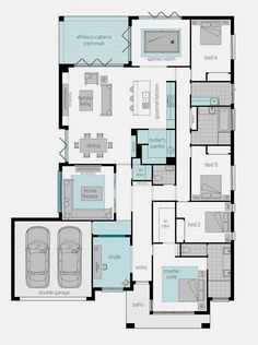 Floor Plan Friday: Front positioned master, with additional study, theatre & games room – Game Room İdeas 2020 Sims House Plans, Family House Plans, New House Plans, Dream House Plans, Modern House Plans, Small House Plans, House Floor Plans, Home Design Floor Plans, Floor Plan Layout