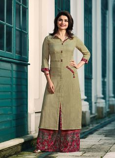 Buy Beige Long Kurti with Printed Palazzo. Shop a Party wear designer Kurti with Palazzo online, Purchase a Designer Kurti with Palazzo at Best price Kurti Sleeves Design, Kurta Neck Design, Sleeves Designs For Dresses, Dress Neck Designs, Stylish Dress Designs, Stylish Dresses, Blouse Designs, Plain Kurti Designs, Silk Kurti Designs