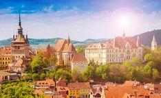Panoramic view over urban skyline architecture in Sighisoara town, historic region of Transylvania in Romania Skyline, Bucharest, City Break, Taj Mahal, Tours, Stock Photos, Mansions, Architecture, Travel