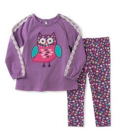 Purple Owl Tunic & Floral Leggings - Infant, Toddler & Girls #zulily #zulilyfinds