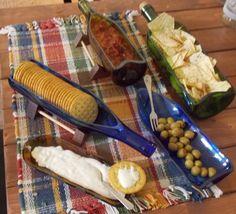 Wine Bottle Serving Tray -Recycle wine bottle - Salsa Dish -Mothers Day gift - Glass Bottles - Slumped Bottles -