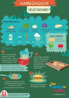 Hambúrguer vegetariano  #TemCriançaNaCozinha Go Veggie, Veggie Recipes, Real Food Recipes, Vegetarian Recipes, Healthy Recipes, Going Vegetarian, Going Vegan, Vegan Life, Diy Food