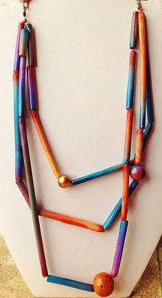 """Polymer clay, necklace   """"Color Shades"""" www.etsy.com/listing…   Flickr"""