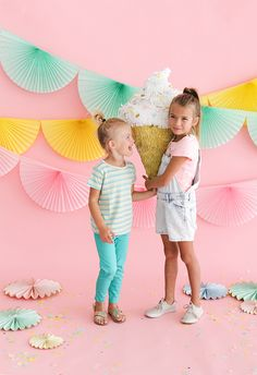 Soft Serve Ice Cream Cone Piñata Donut Party, Sundae Party, Pastel Party, Ice Cream Party, Soft Serve, Backdrops For Parties, Unicorn Birthday Parties, Summer Diy, Party Time
