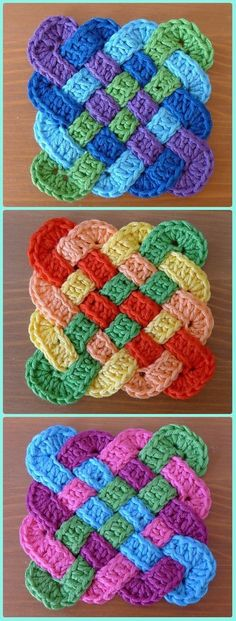 Crochet Squares Patterns Crochet Celtic Coasters Paid Pattern - Crochet Coasters Free Patterns - Crochet Coasters Free Patterns and Instructions: Collection of easy crochet coasters, flower coaster, animal coaster, coaster applique / motif design Crochet Squares, Crochet Granny, Crochet Motif, Crochet Yarn, Crochet Hearts, Irish Crochet, Granny Squares, Crochet Blocks, Unique Crochet Stitches