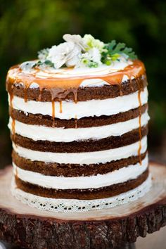 """""""naked"""" wedding cake. so beautiful, even if not for a wedding! cake flavors, layered cakes, cake wedding, layer cakes, rustic weddings, groom cake, rustic wedding cakes, caramel, alternative wedding"""